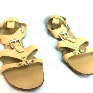 Strappy Leather Sandals Beige E1SP09 EU 39 US 8
